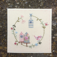 Little bird house hand embroidered card