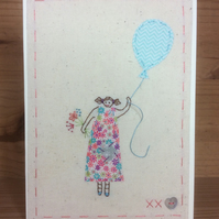 Girl in a ditsy dress hand embroidered card