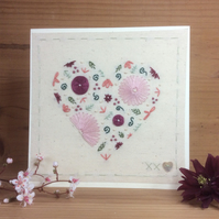 Floral Pink heart hand embroidered card