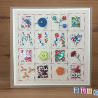 Patchwork style bright hand embroidered Mum card