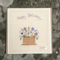 Basket of spring flowers hand embroidered card