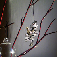 """The LoveBird Tree"" made from recycled leather a gift for your Valentine.."