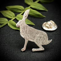 Silver Sitting Hare Lapel Pin