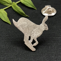 Silver Running Hare Lapel Pin