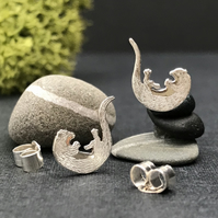 Silver Playing Otter Stud Earrings
