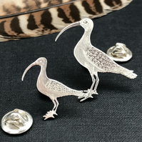 Silver Curlew Lapel Pin