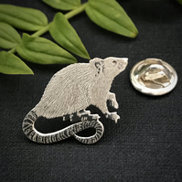 Silver Rat Lapel Pin
