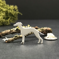 Silver Whippet Lapel Pin
