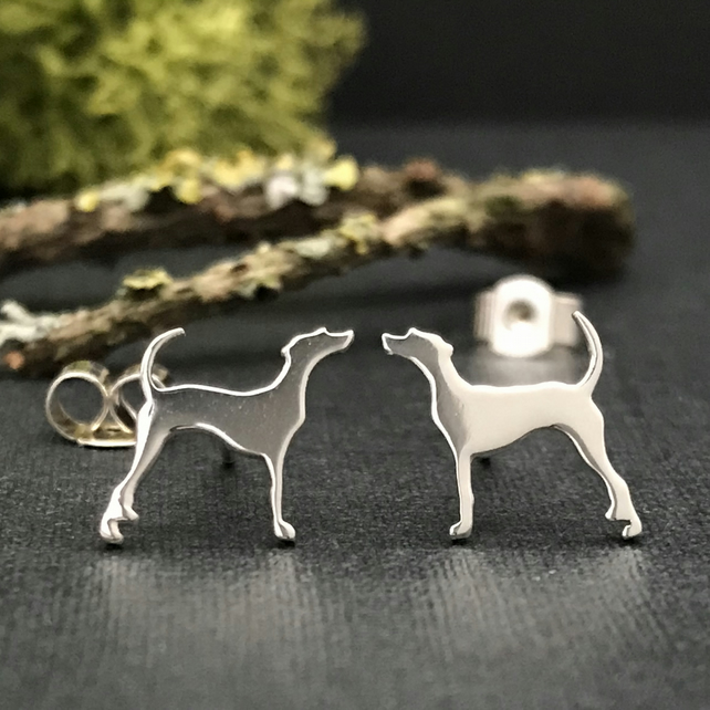 Silver Foxhound Stud Earrings