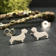 Silver Wire-haired Dachshund Stud Earrings