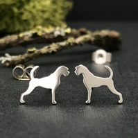 Silver Boxer Dog Stud Earrings