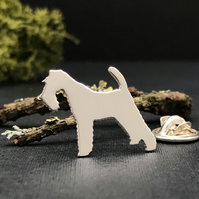 Silver Fox Terrier Lapel Pin