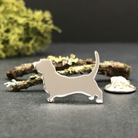Silver Basset Hound Lapel Pin