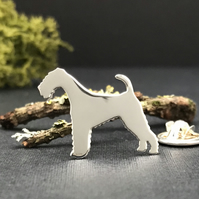 Silver Airedale Terrier Lapel Pin