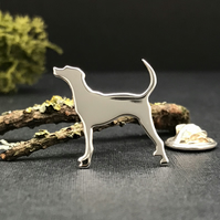 Silver Foxhound Lapel Pin
