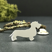 Silver Wire-haired Dachshund Lapel Pin
