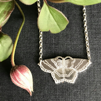 Silver Common Emerald Moth Necklace, (Small).