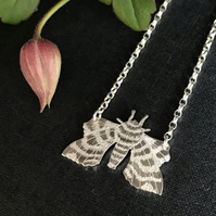 Silver Poplar Hawkmoth Necklace, (Small).