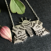 Silver Poplar Hawkmoth Necklace, (Large).