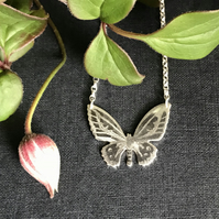 Silver Butterfly Necklace, (Green Birdwing Butterfly).