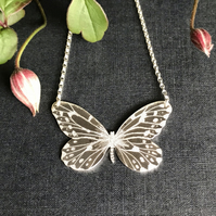 Silver Butterfly Necklace, (Smaller Wood Nymph).
