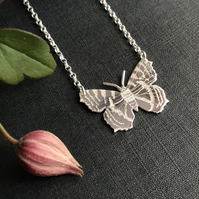 Small Silver Butterfly Necklace, (Small Tortoiseshell).