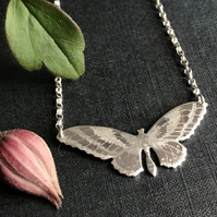 Small Silver Butterfly Necklace, (Golden Birdwing Butterfly).