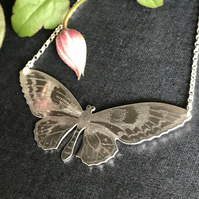 Large Silver Butterfly Necklace, (Golden Birdwing Butterfly).