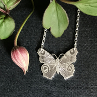 Small Silver Butterfly Necklace, (Peacock Butterfly).