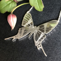 Large Silver Butterfly Necklace, (Bee Butterfly).