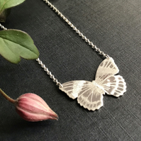 Silver Butterfly Necklace, (Magnificent Forester Butterfly).