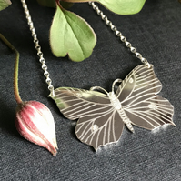 Large Silver Butterfly Necklace, (Brimstone Butterfly).