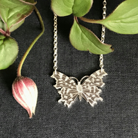 Small Silver Butterfly Necklace, (Comma Butterfly).