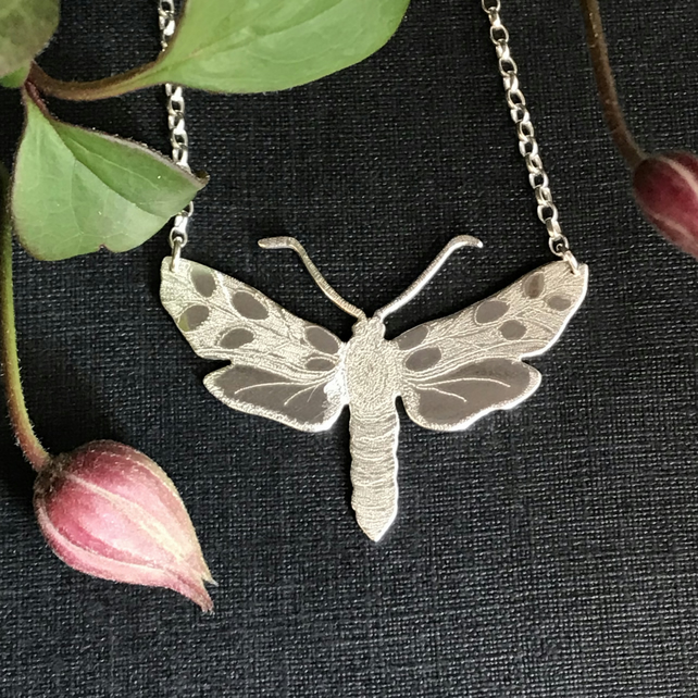 Large Silver Moth Necklace, Six-spot Burnet Moth.