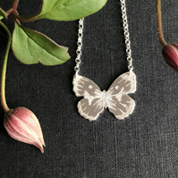 Silver Butterfly Necklace, (Purple Tip Butterfly).
