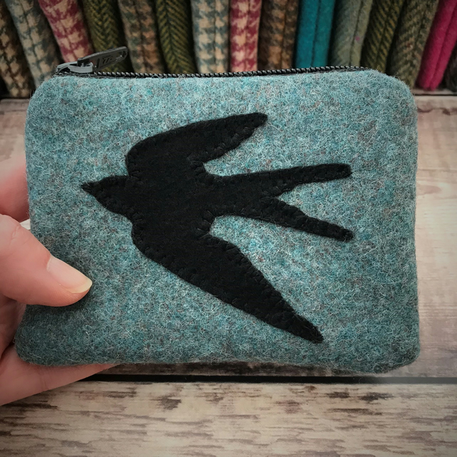 Tweed Swallow Coin Purse.