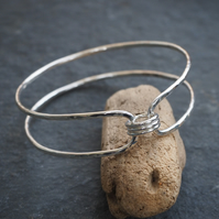 Hallmarked Silver Bangle  - Double Ring Bangle