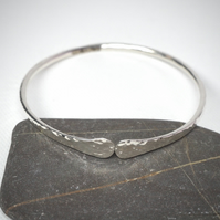 Small sterling silver forged bangle
