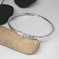 Solid silver forged bangle