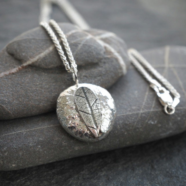 Recycled Sterling Silver Leaf Pebble Pendant