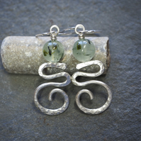 Silver zigzag spiral earrings with Prehnite beads