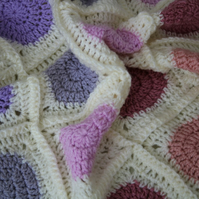 Handmade Circle to Square Grey and Pink Crochet Blanket