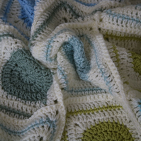 Handmade Circle to Square Blue Green Crochet Blanket