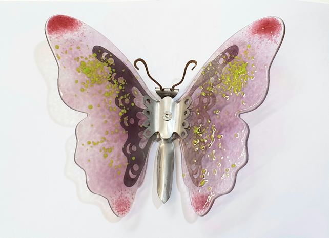 Butterfly Wall Art - Glass and Metal - Pink and Green Butterfly