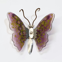Butterfly Wall Art - Glass and Metal - Mini Pink and Green Butterfly