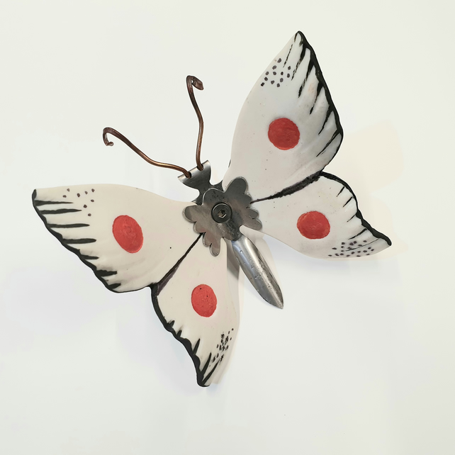 Butterfly Wall Art - Ceramic and Metal - Cream and Red Butterfly
