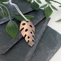 Monstera leaf copper and sterling silver necklace