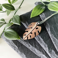 Copper Monstera Leaf Necklace with Sterling Silver stem