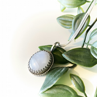 Oval Moonstone Silver Pendant Necklace