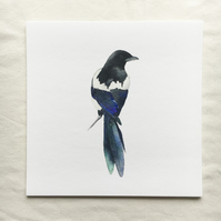 Watercolour magpie giclée print